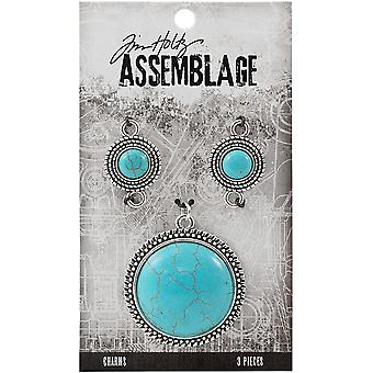 Tim Holtz Assemblage Charms 3/Pkg-Turquoise Medallions THA20049