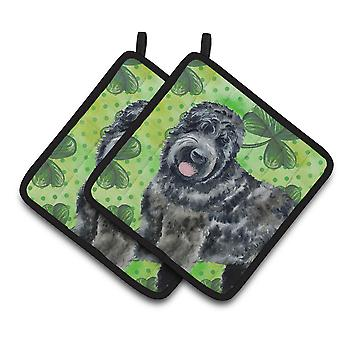 Black Russian Terrier St Patrick's Pair of Pot Holders