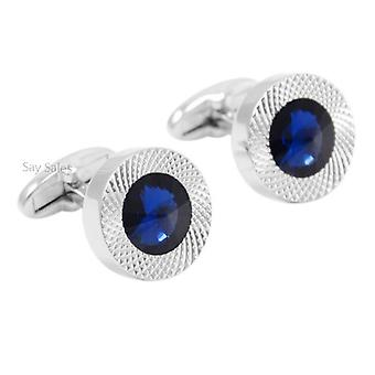 Stunning Round Silver Tone Cufflinks With Blue Stone Formal Wedding Business Button