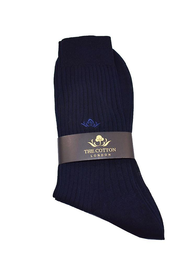 Cotton Lisle Tailored Socks - Navy