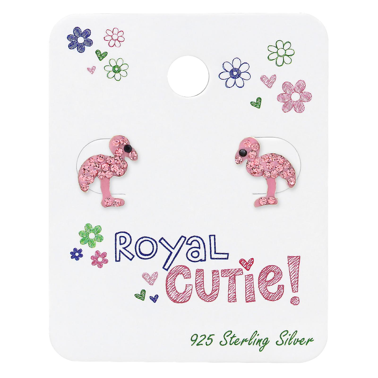 Flamingo Ear Studs On Royal Cutie Card - 925 Sterling Silver Sets