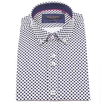 Guide London Navy Cotton Sateen Bold Polka Dot Print Short Sleeve Shirt