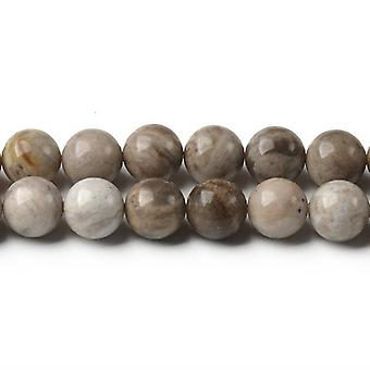 Strand 40+ Grey/Mixed Silver Leaf Jasper 8mm Plain Round Beads CB44446-3