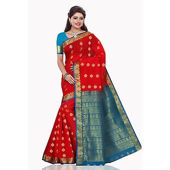 Khushi rojo con abrigo de seda de arte azul Sari sari Bellydance
