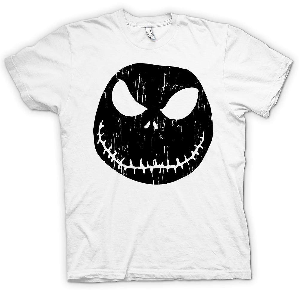 Mens T-shirt - Scary Halloween Pumpkin - Smiley Face