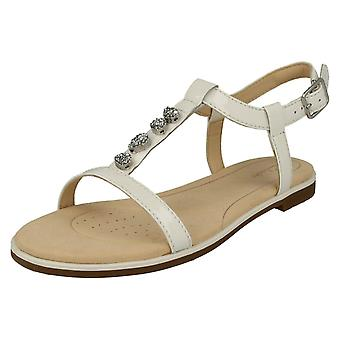 Ladies Clarks Casual Slingback Sandals Bay Blossom - White Patent Leather - UK Size 5D - EU Size 38 - US Size 7.5M