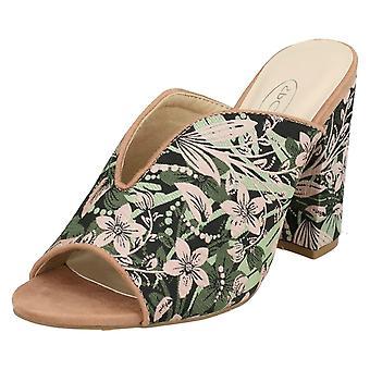 Ladies Spot On High Chunky Heel Mules F10826 - Dusty Pink/Mint Fabric - UK Size 7 - EU Size 40 - US Size 9