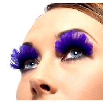 Fjer øjenvipper - lilla - indeholder lim