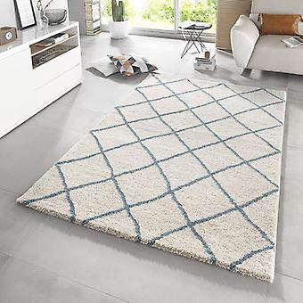Design high pile carpet Diva cream blue