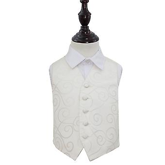 Ivory Scroll Wedding Waistcoat for Boys