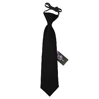 Plaine de Black Satin élastique cravate pour les garçons
