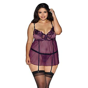 Curvy Plus Size Sheer Floral Embroidered Criss Cross Babydoll Lingerie