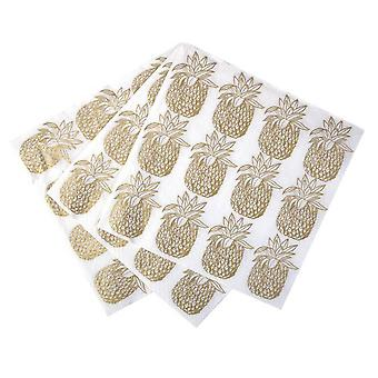 Gold Pineapple Paper Party Napkin x 20