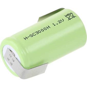 Mexcel-SC3000H non standard batteria (ricaricabile) Sub-C resistente alle alte temperature, Z saldare sulla scheda, Flat top NiMH 1.2 V 3000 mAh