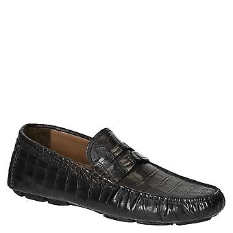 Black crocodile texture leather men moccasins