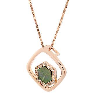Orphelia sølv 925 vedhæng med kæde Rose guld og sort mor til perler og Zirconium