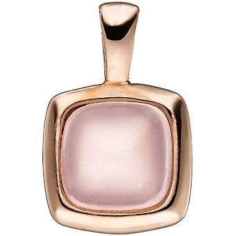 Trailer square 925 sterling silver gold plated 1 pink glass block
