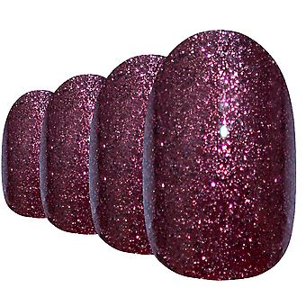 False nails by bling art red brown gel oval medium  acrylic tips with glue