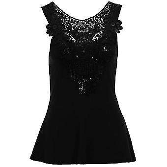 Ladies Celeb Keegan Inspired Sequin Lace Crochet Women's Textured Peplum Top
