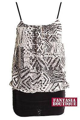 Ladies Chiffon Zigzag Printed Stone Blouse Black Stretch Fitted Vest Womens Top