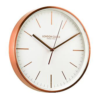30cm Brushed Copper Metal Case Wall Clock