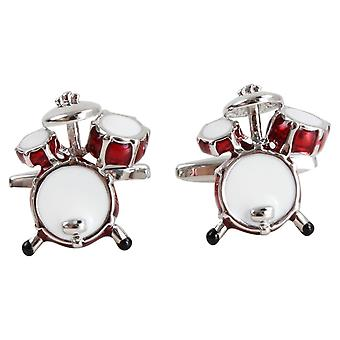 Zennor Drum Cufflinks - Red/Silver
