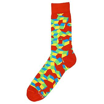 The Moja Club Falling Cube Midcalf Socks - Orange/Yellow/Green