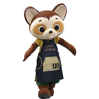 SPOTSOUND of Brown and beige panda mascot dressed in a dress
