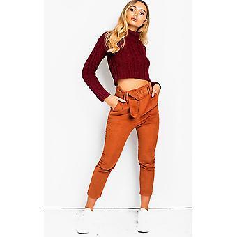 IKRUSH женские Roxi прямые ноги опоясанная брюки шнур
