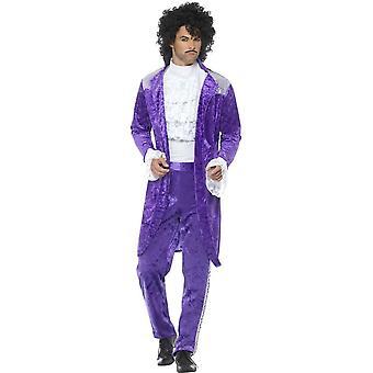80er Jahre zu verspotten, lila Musiker Kostüm, lila, mit Jacke, Hemd & Hose
