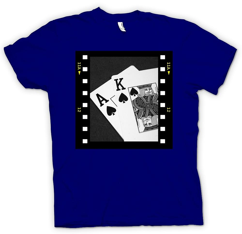 Mens T-shirt - Poker Hand Black Jack Ace King