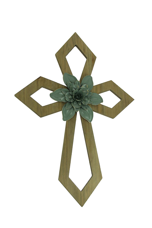 Wood 3D Flower Design Decorative Wall Cross