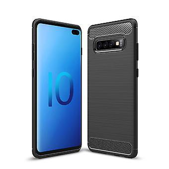 Samsung Galaxy S10 plus TPU case carbon fiber optics geborsteld beschermhoes zwart
