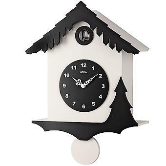 Cuckoo clock quartz pendulum wooden cabinet white and black painted