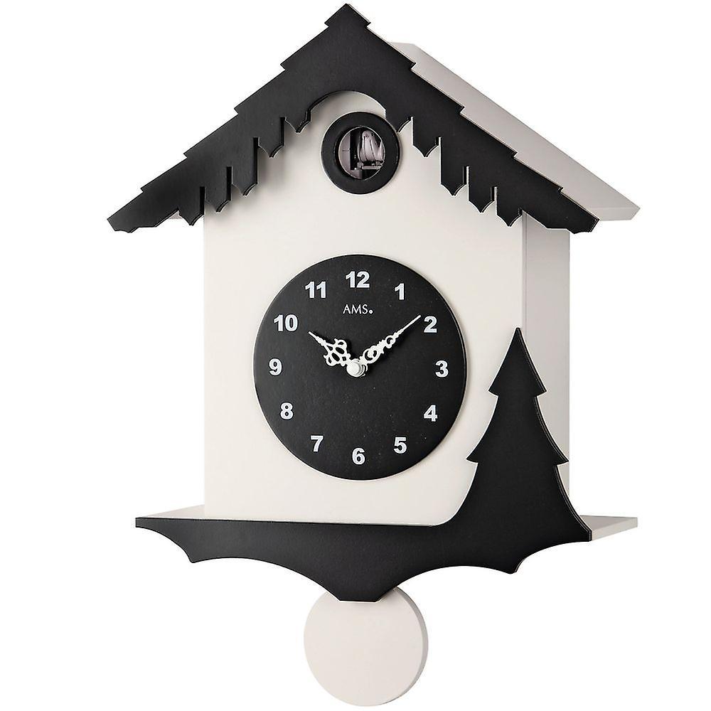 Horloge coucou quartz pendule en bois meuble blanc et noir peint