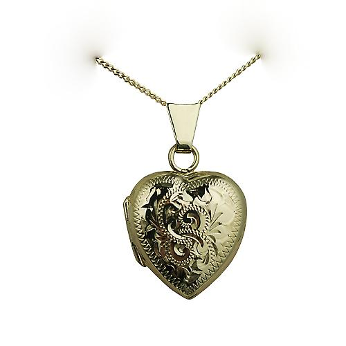 9ct Gold 17x16mm hand engraved heart shaped Locket with a curb Chain 16 inches Only Suitable for Children