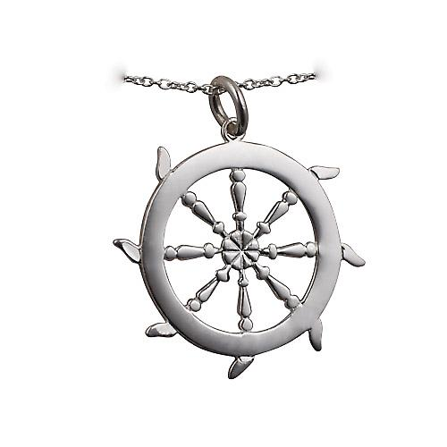 Silver 17mm solid Ships Wheel Pendant with a rolo chain