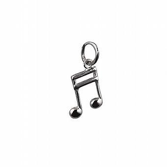Silver 11x7mm Semi Quaver musical note Pendant or Charm