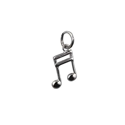 Silver 11x7mm Semi Quaver musical note Pendant or Charm