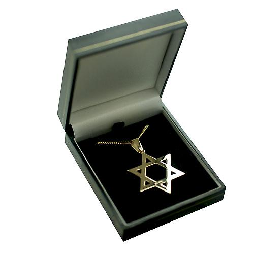 9ct Gold 37x37mm plain Star of David Pendant with bail on a curb chain