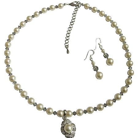 Swarovski Cream Rose Pearl Crystal Necklace Handcrafted Custom Jewelry