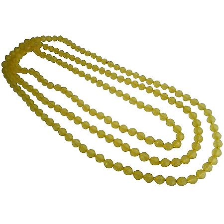 Bright Yellow Daffodil Chunky Long Multifaceted Beads Summer Necklace