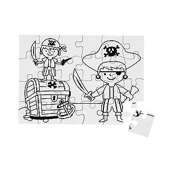 Pirate Colour In Card Jigsaw Puzzles for Kids Crafts - Pack of 2