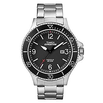 TW4B10900-Timex men's watch with quartz movement, classic analogue dial and stainless steel band
