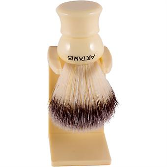 Artamis Synthetic Hair Small Shaving Brush with Drip Stand - Ivory Colour
