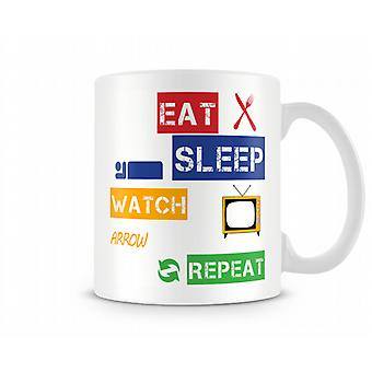 Eat, Sleep, Watch Arrow, Repeat Printed Mug