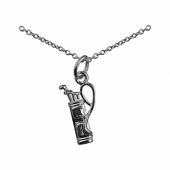 Silver 15x9mm Golf Bag and Clubs Pendant with a rolo Chain 14 inches Only Suitable for Children