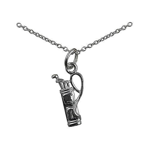Silver 15x9mm Golf Bag and Clubs Pendant with a rolo Chain 16 inches Only Suitable for Children