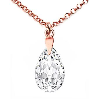 Ah! Jewellery 18K Rose Gold Vermeil Over Sterling Silver Clear Crystals From Swarovski Pear Necklace, Stamped 925