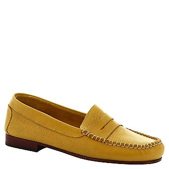 Mocassins faits main Leonardo chaussures féminines dans ajourée jaune en cuir de veau